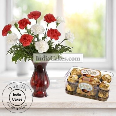 10 Red And White Carnations With 16 Ferrero Rocher Chocolates