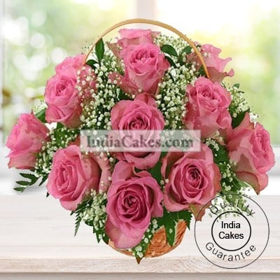 20 Pink Roses Basket Arrangement