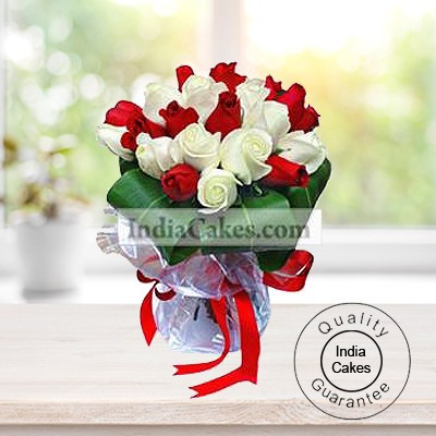 20 Red And White Roses Bunch