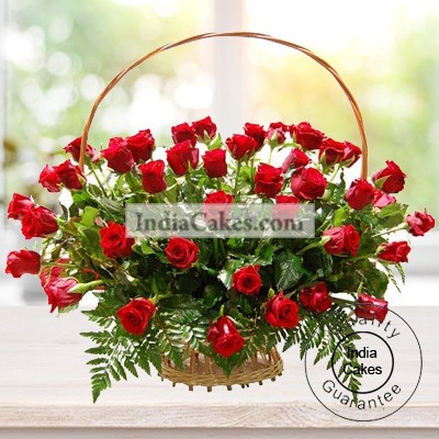 40 Red Roses Basket Arrangement