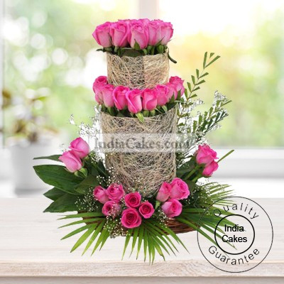 50 Pink Roses Basket Arrangement