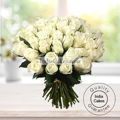 50 White Roses Bunch