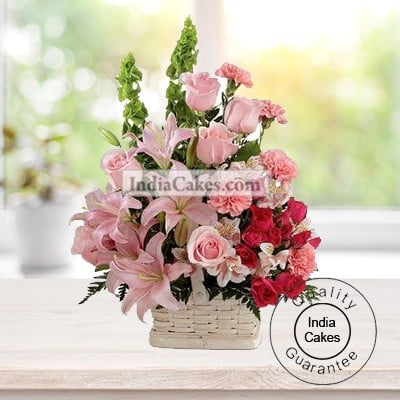ARRANGEMENT OF LILLIES AND CARNATIONS