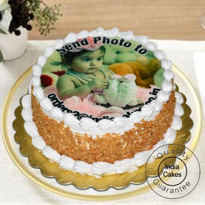 1 Kg Eggless Butter Scotch Photo Cake with 12 Yellow Roses Bunch