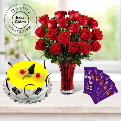 1 Kg Pineapple Cake-6 Red Roses Bunch-5Chocolates