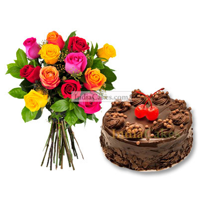 1.5 Kg Chocolate Truffle with 12 Mix Roses Bunch