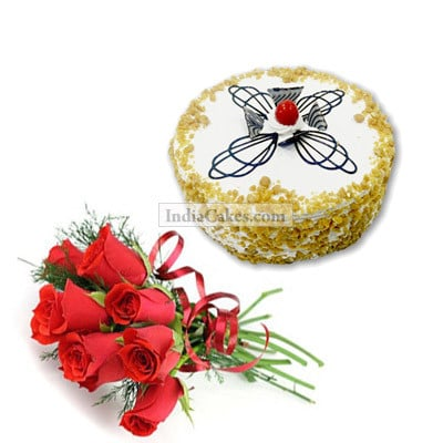 1.5 Kg Eggless Butter Scotch with 12 Red Roses Bunch