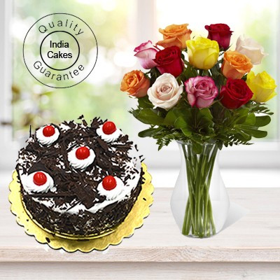 Eggless Black Forest Cake 1 Kg with 12 Mix Roses Bunch