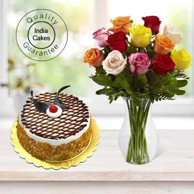 Eggless Butterscotch Cake Half Kg with 6 Mix Roses Bunch