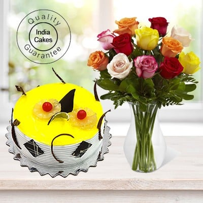 Eggless Pineapple Cake Half Kg with 12 Mix Roses Bunch