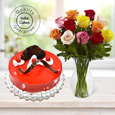 Eggless Strawberry Cake 1 Kg with 12 Mix Roses Bunch