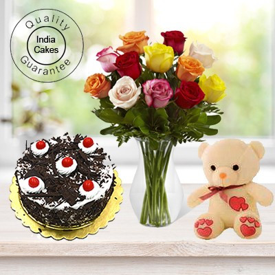 Black Forest Cake Half Kg with 6 Mix Roses Bunch and a Teddy Bear