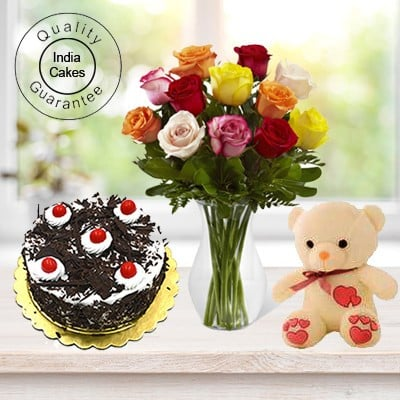 Eggless Black Forest Cake 1 Kg with 6 Mix Roses Bunch and a Teddy Bear