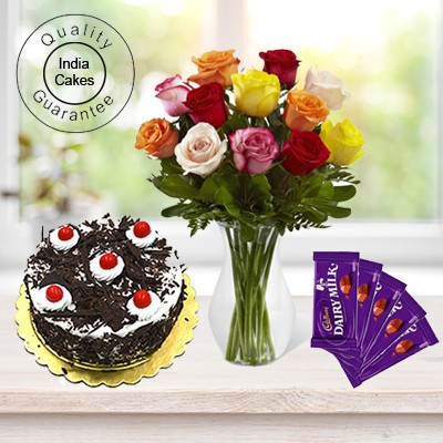 Eggless Black Forest Cake 1.5 Kg with 6 Mix Roses Bunch and 5 Chocolates