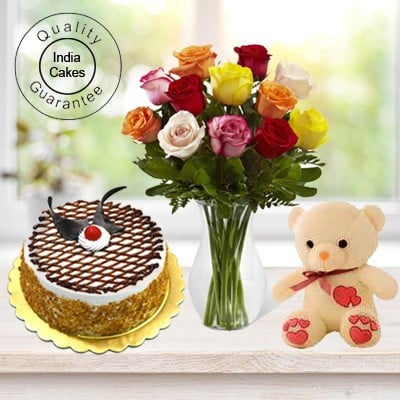 Eggless Butterscotch Cake 1 Kg with 6 Mix Roses Bunch and a Teddy Bear