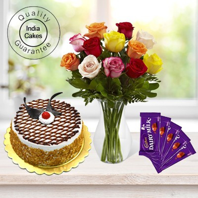 Eggless Butterscotch Cake Half Kg with 6 Mix Roses Bunch and 5 Chocolates
