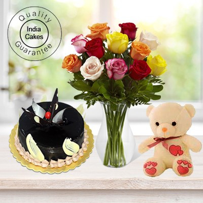 Eggless Chocolate Truffle Cake 1.5 Kg with 6 Mix Roses Bunch and a Teddy Bear