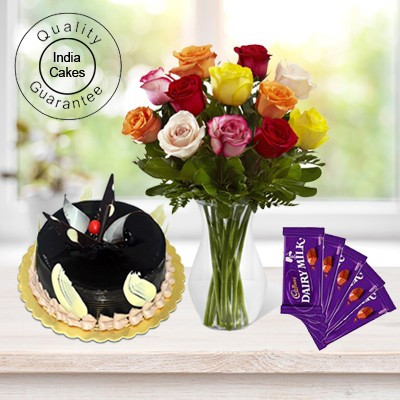 Eggless Chocolate Truffle Cake 1 Kg with 6 Mix Roses Bunch and 5 Chocolates
