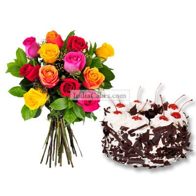 1.5 Kg Black Forest with 6 Mix Roses Bunch