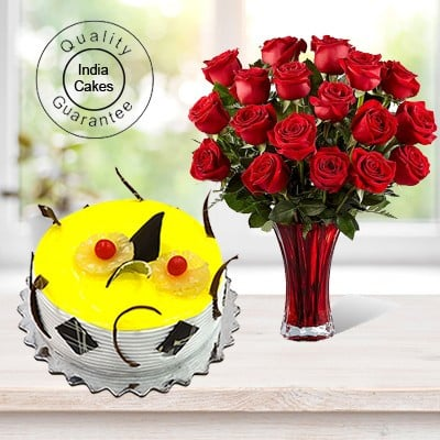 Eggless Pineapple Cake Half Kg with 6 Red Roses Bunch