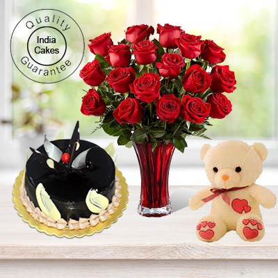 Eggless Chocolate Truffle Cake Half Kg with 6 Red Roses Bunch and a Teddy Bear