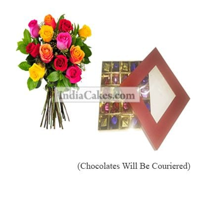 12 Mix Roses Bunch And 25 Pcs Red Color Chocolate Box