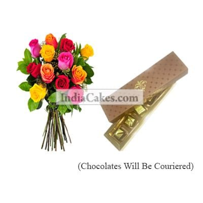 12 Mix Roses Bunch And 5 Pcs Brown Color Chocolate Box