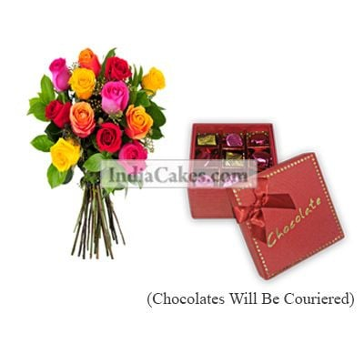 12 Mix Roses Bunch And 9 Pcs Red Color Chocolate Box With Ribbon