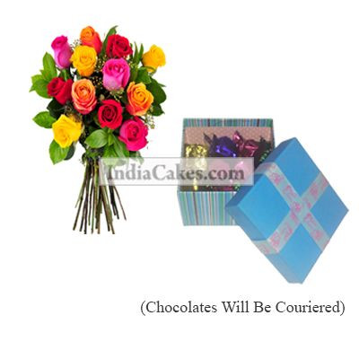 12 Mix Roses Bunch And Blue Chocolate Box With Ribbon