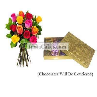 12 Mix Roses Bunch And Golden Finish Design Chocolate Or Sweet Box