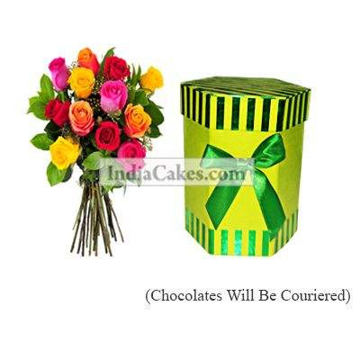 12 Mix Roses Bunch And Hexagon Shaped Green Color Chocolate Box