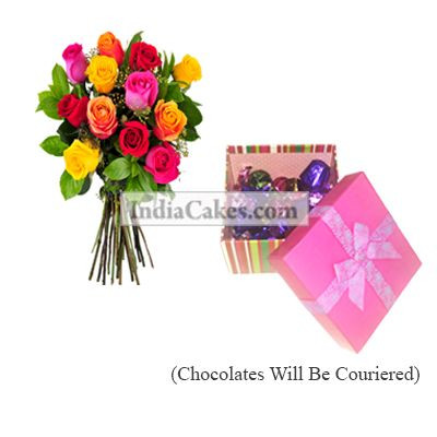 12 Mix Roses Bunch And Pink Chocolate Box With Ribbon