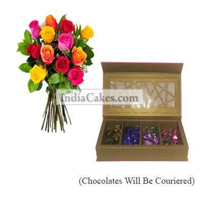 12 Mix Roses Bunch And Pink Geometric Designer Chocolate Box