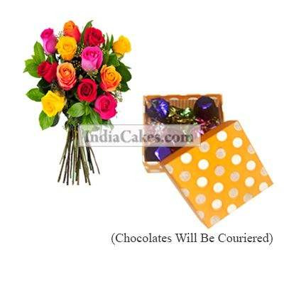 12 Mix Roses Bunch And Polka Dot Orange And White Color Chocolate Box