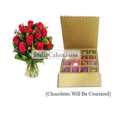 12 Red Roses Bunch And 16 Pcs Golden And Brown Stips Chocolate Box