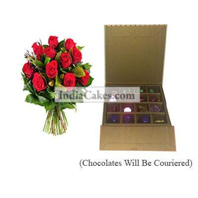 12 Red Roses Bunch And 16 Pcs Golden And Orange Stips Chocolate Box