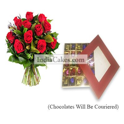 12 Red Roses Bunch And 25 Pcs Red Color Chocolate Box