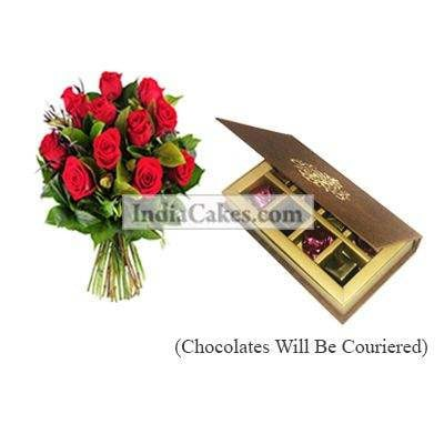 12 Red Roses Bunch And 8 Pcs Velvet Finish Chocolate Box