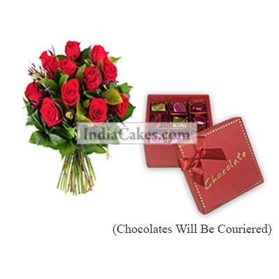 12 Red Roses Bunch And 9 Pcs Red Color Chocolate Box With Ribbon