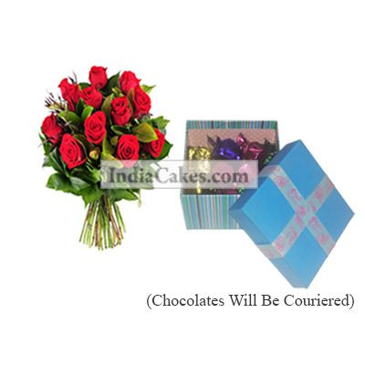 12 Red Roses Bunch And Blue Chocolate Box With Ribbon