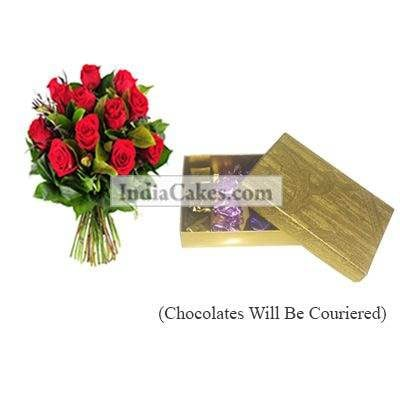 12 Red Roses Bunch And Golden Finish Design Chocolate Or Sweet Box