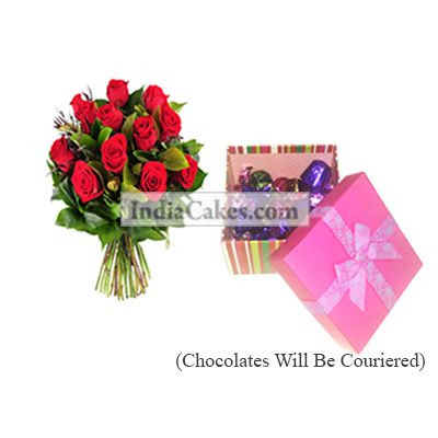 12 Red Roses Bunch And Pink Chocolate Box With Ribbon