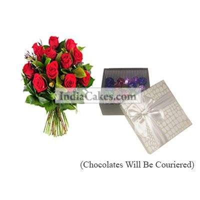 12 Red Roses Bunch And Silver Color Chocolate Box
