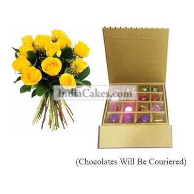 12 Yellow Roses Bunch And 16 Pcs Golden And Brown Stips Chocolate Box