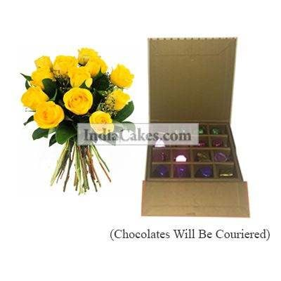 12 Yellow Roses Bunch And 16 Pcs Golden And Orange Stips Chocolate Box