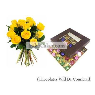 12 Yellow Roses Bunch And 25 Pcs Brown Color Chocolate Box