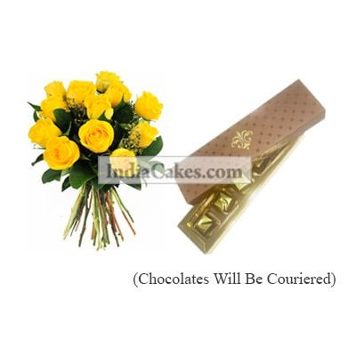 12 Yellow Roses Bunch And 5 Pcs Brown Color Chocolate Box