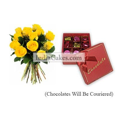 12 Yellow Roses Bunch And 9 Pcs Red Color Chocolate Box With Ribbon