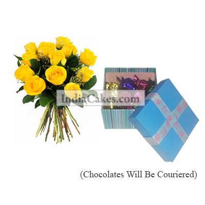 12 Yellow Roses Bunch And Blue Chocolate Box With Ribbon