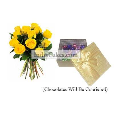 12 Yellow Roses Bunch And Golden Chocolate Box